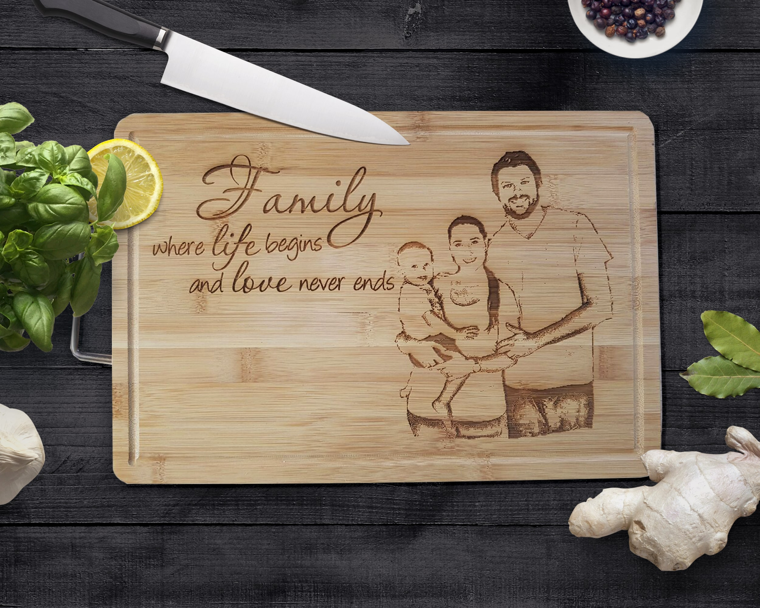 personalised cutting board with handle the laser company